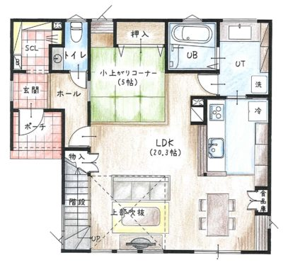 flanc+ 平面図(着色)1階